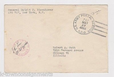 WWII GENERAL DWIGHT EISENHOWER CENSOR SIGNED WARDATE POSTAL MAIL COVER 1944