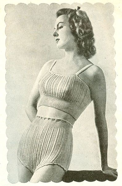 Vintage knitting pattern short vest pantie set 1940s - from a Bestway publication of sewing patterns called 'Short length Lingerie' Also trimming to crochet.