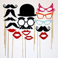 Photo Booth Party - 15 Piece Set - - Wedding Photobooth Props Set - mustache on a stick - Wedding Photo Props