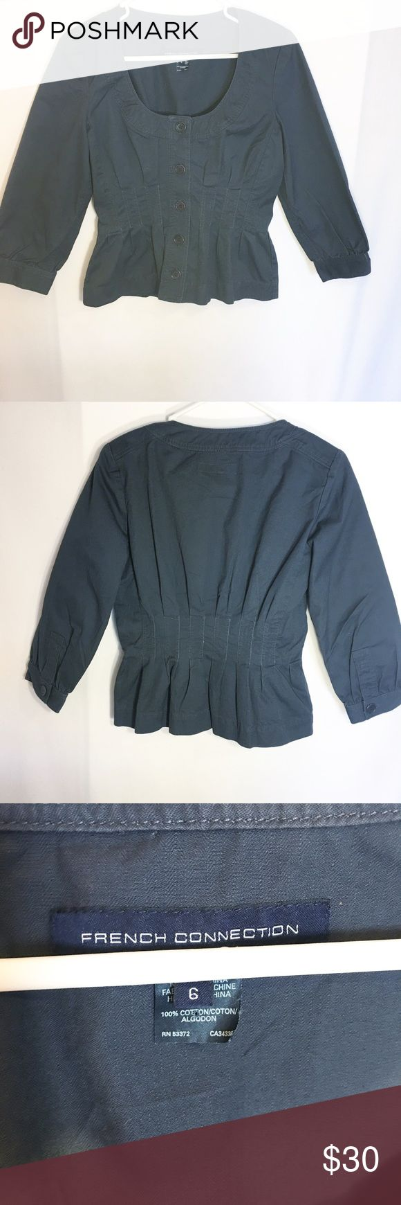 French connection button down pleated jacket Size 6! Navy blue color! 3/4 sleeve! You would wear this as you would a jean jacket with something underneath! Make an offer! French Connection Tops Button Down Shirts