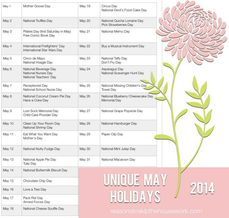 Unique May Holidays - Reasons To Skip The Housework
