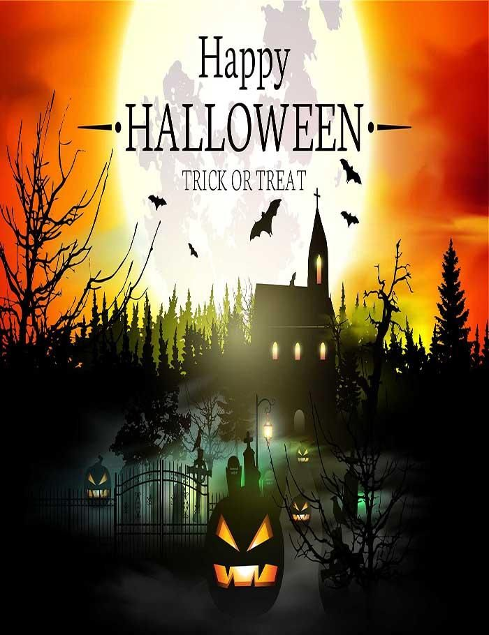 Halloween Background With Forest Castle Of Terror And Pumpkin - halloween backdrop
