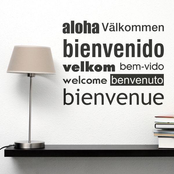 Vinilo decorativo de la palabra bienvenido en varios idiomas decoraci n - Vinilo welcome ...