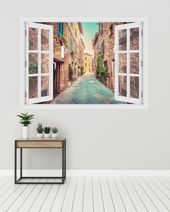 3d Window Alley In Old Italian Town Wall Decal Vinyl 3d Wall Art