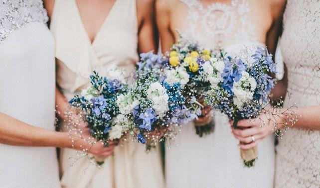 Elegant Colorful Blue Wedding Flowers For Bridesmaids