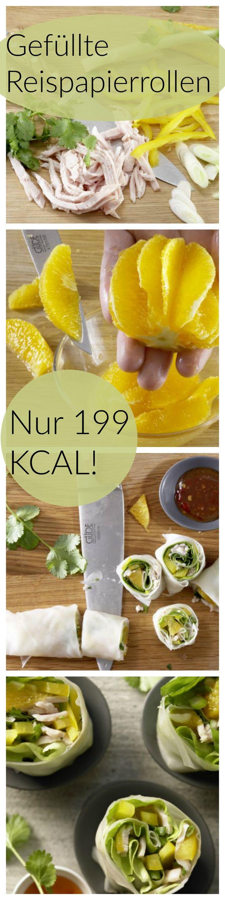 Leichter Genuss, der nicht auf die Rippen geht: Gefüllte Reispapierrollen mit Putenbrust, Paprika, Orange und Koriander | http://eatsmarter.de/rezepte/gefuellte-reispapierrollen