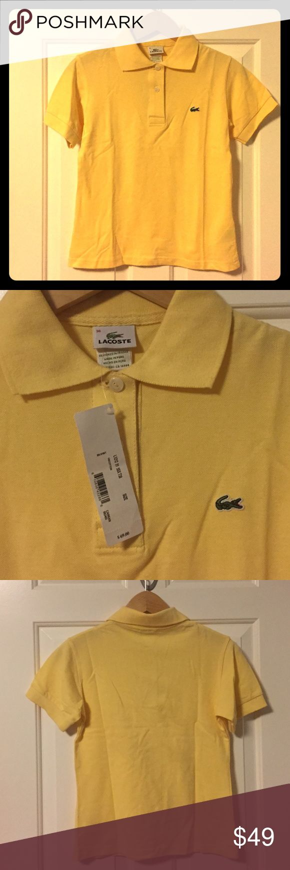 NEW Lacoste Polo Shirt size 36/USA S This is a brand NEW with tags Lacoste yellow polo size EU 36/ USA S. Lacoste Tops Tees - Short Sleeve