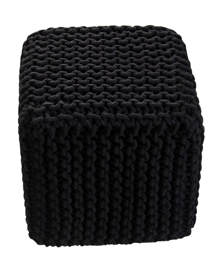 Black Knitted Cotton Cube Footstool 35 x 35 x 35 cm - Homescapes