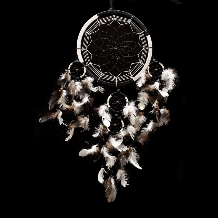 """Dream Catcher - Handmade Traditional Black & White 8.5"""" Diameter 22"""" Long! The Native American dream catcher bedroom decor was intended to protect the sleeping individual from negative dreams, while letting positive dreams through."""
