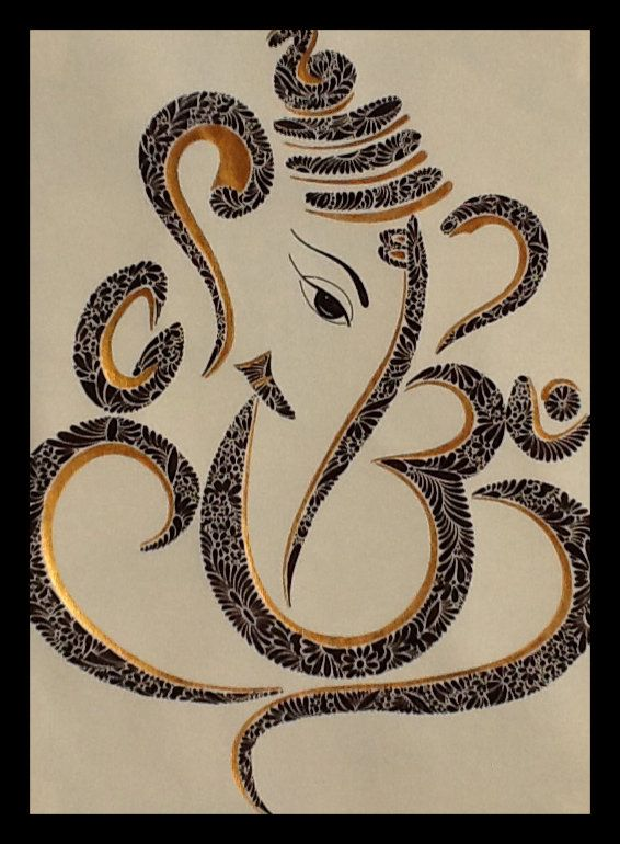 Ganesh ji - Black and Gold Ink || See the 'Om'? and Shivaji's ever faithful snake - Vasuki adorning his son's crown? ||