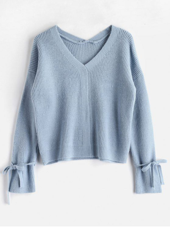 8ad5bc7a1a6b Shop for  HOT  2018 V Neck Tied Sleeve Boxy Sweater in LIGHT BLUE ONE SIZE  of Sweaters and check 10000+ hottest styles at ZAFUL.