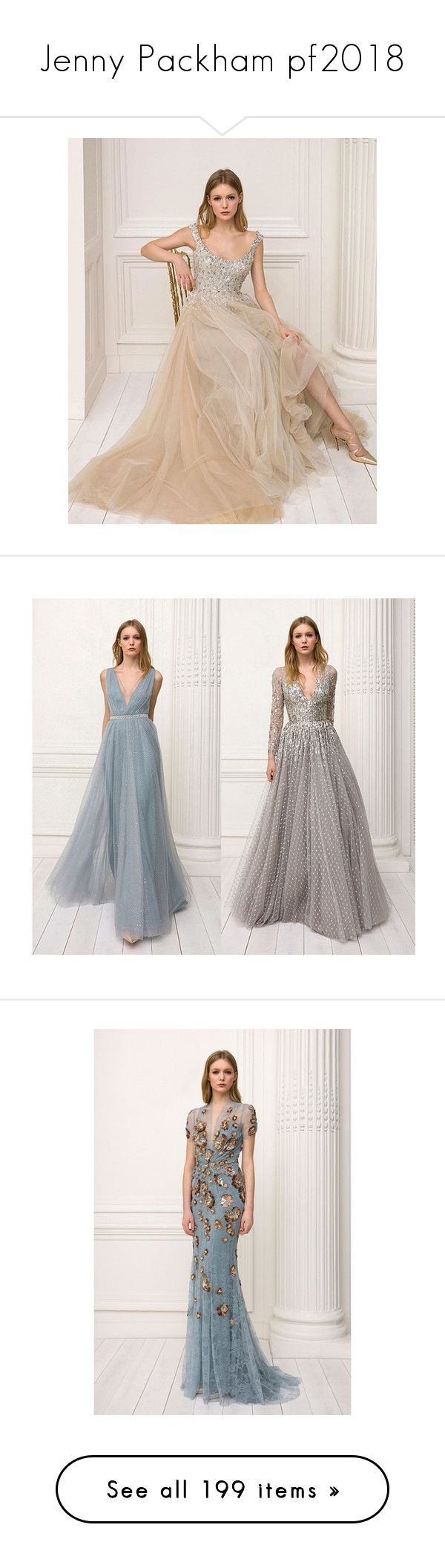 """""""Jenny Packham pf2018"""" by xandra-black ❤ liked on Polyvore featuring dresses, gowns, blue gown, blue sequin gown, blue evening dresses, lace evening gowns, sequin gown, white evening dresses, white lace gown and white v neck dress"""
