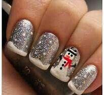 Snowman winter nails 2014