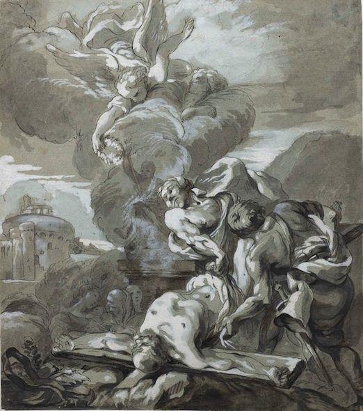 Louis Cretey (1630/1635 ou 1637-après 1702) La Crucifixion de saint Pierre Lavis gris, gouache blanche - 34,5 x 32 cm Galerie Nathalie Motte Masselink Photo : Galerie Nathalie Motte Masselink