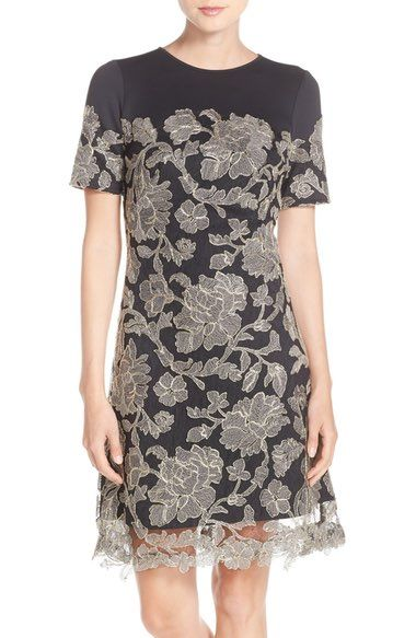 Tadashi Shoji Embroidered Lace Overlay A-Line Dress (Regular & Petite) available at #Nordstrom