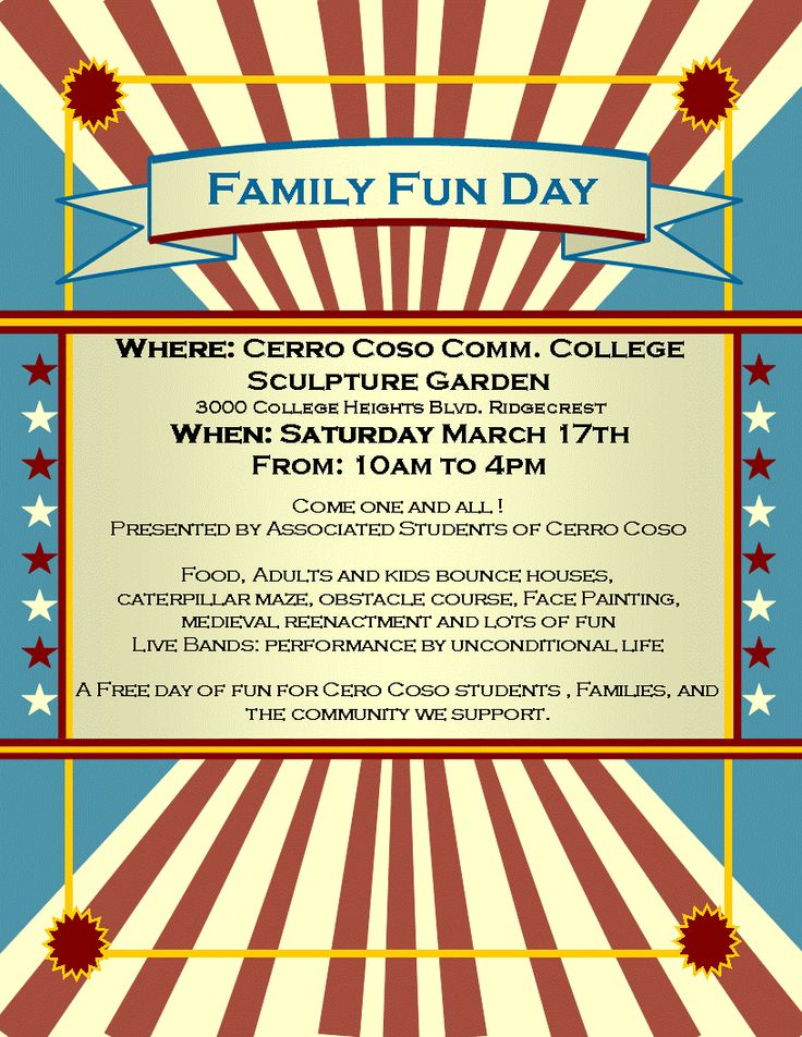 fun day flyer template - Google Search | Fun Day at LWCC | Pinterest
