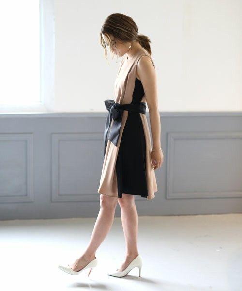 サイド切替バイカラーAラインワンピース(ドレス)|moca couture(モカクチュール)のファッション通販 - ZOZOTOWN