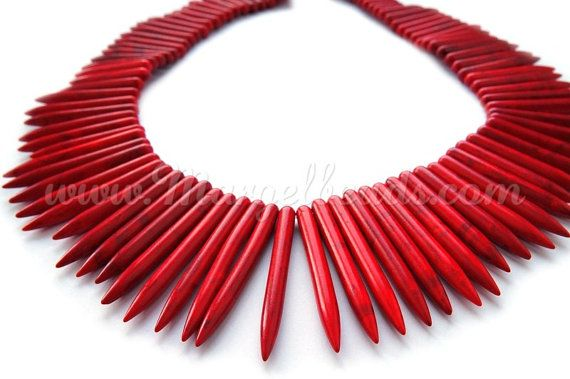 €8.50 1 Strand Red Howlite Needles 20-59 x 4.5-5mm by Margelbeads