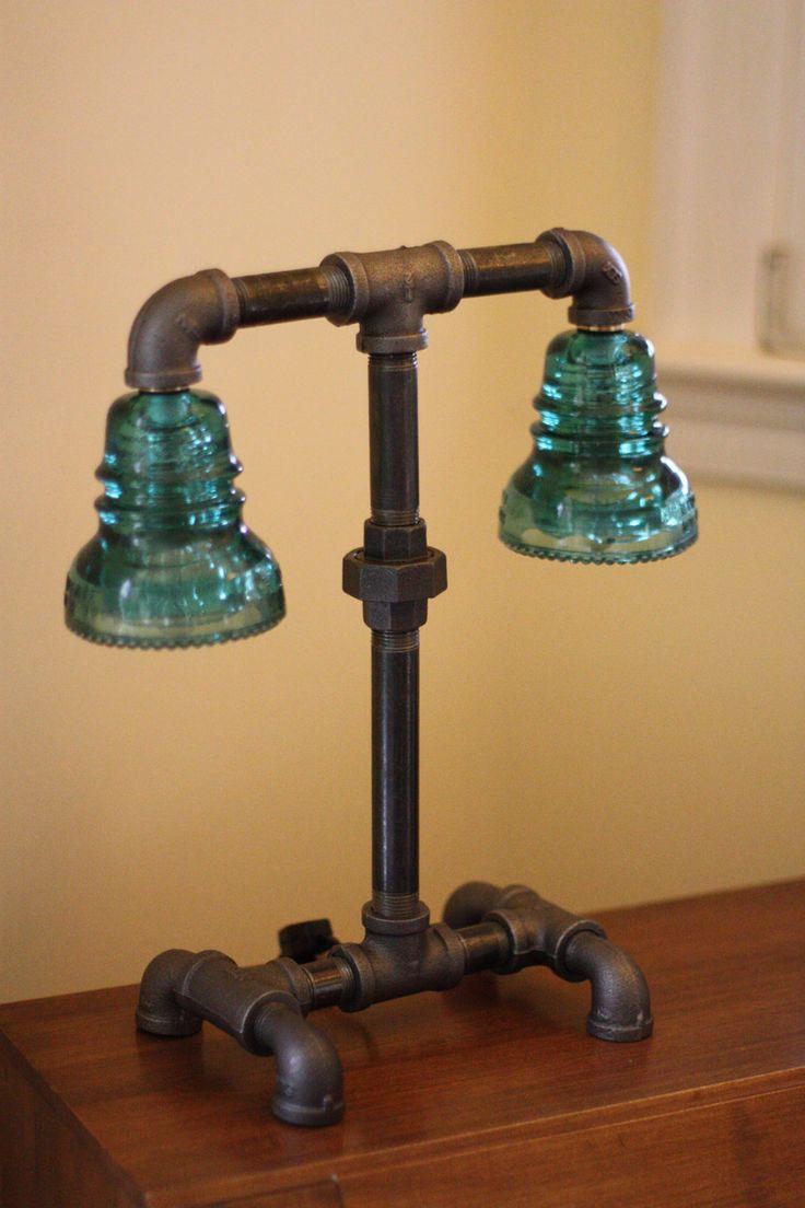Glass Insulator Dual Light Desk Lamp RetroIndustrial by luceantica. $199.99, via Etsy.