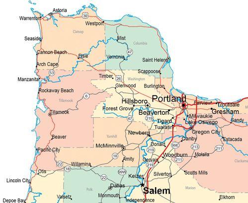 Oregon State Map Gallery Manzanita Seaside And Beaches
