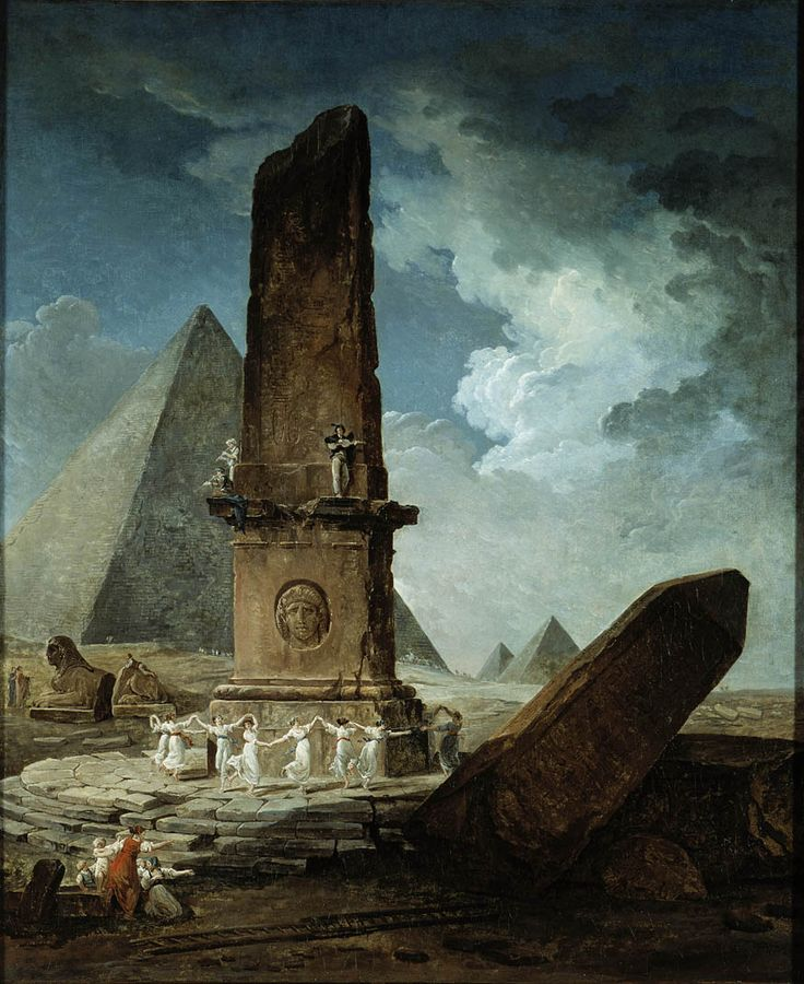 Jeunes filles dansant autour d'un obélisque / Young girls dancing around an obelisk (1798) by Hubert Robert (b. 22 May 1733; Paris, France – d. 15 April 1808; Paris, France) Oil on canvas, 119.7 × 99 cm. Musée des beaux-arts de Montréal http://en.wikipedia.org/wiki/Hubert_Robert