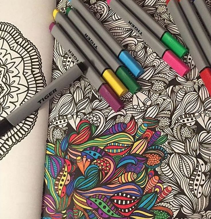 Image credit: @howaya_phelan   tiger felt tips and colouring books :) #colouringbook #colouring #felttips #pencils #colouringin