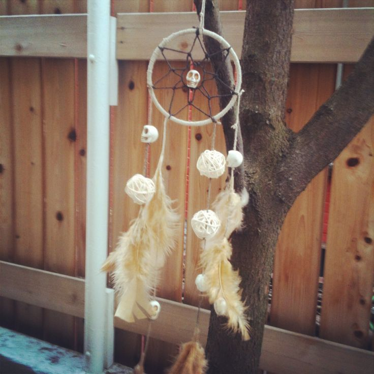 Dream catcher #dreamcatcher #leaf #skull #rope