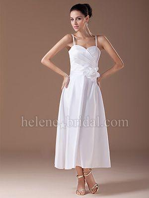 A-Line Sweetheart Tea Length Satin Bridesmaid Dress - US$ 109.99 - Style BD7213 - Helene Bridal