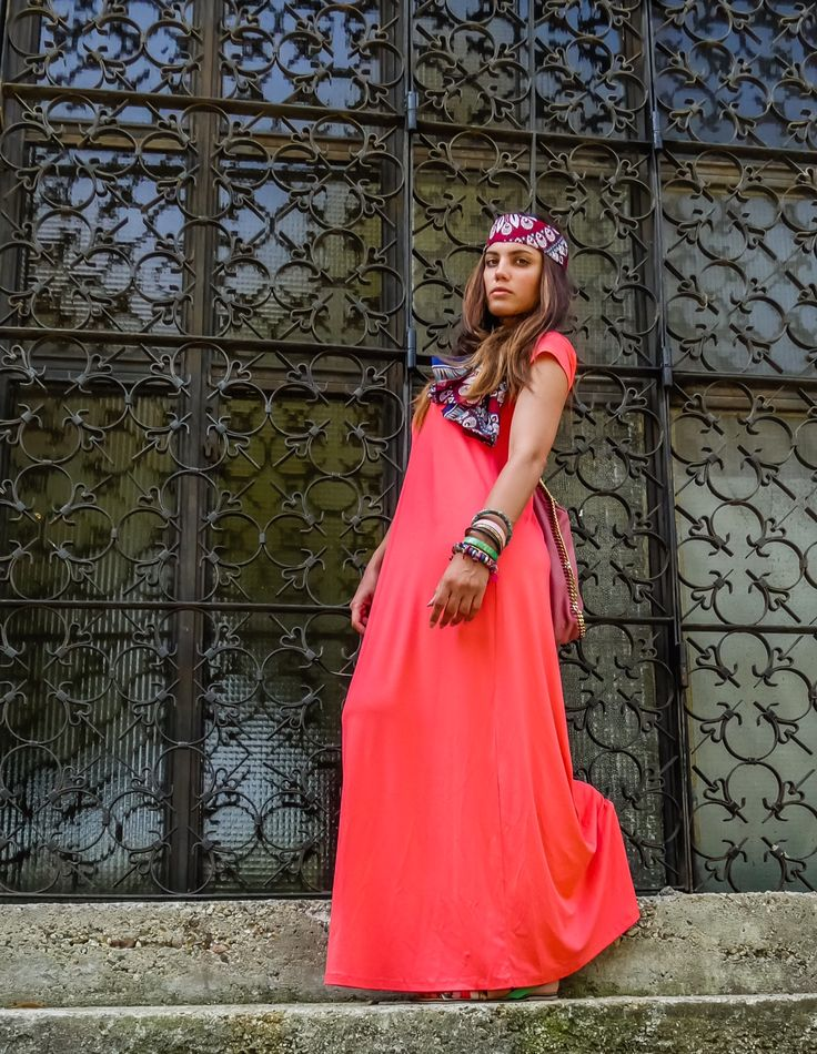 Colorful Mary Sinatsaki in her #maxi #BSB_SS14 dress!