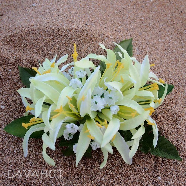 Spider Lily Green Hawaiian Flower Hair Clip