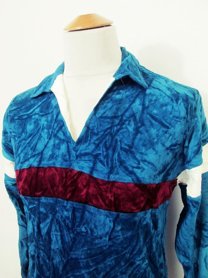 Vintage Mod Indie Velour Blue Red Stripe Polo Open Collar Sweater Top Small