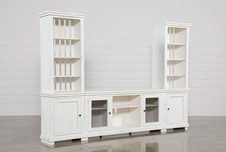 "Looking beachy and casual in a distressed white finish, our solid pine Sinclair 3-piece entertainment center brings charming texture and natural beauty to your living room. The media storage unit includes a 68"" TV stand and 2 storage piers with shelving for accents. It's also adorned with understated pewter hardware and distinguished by airy slat details."
