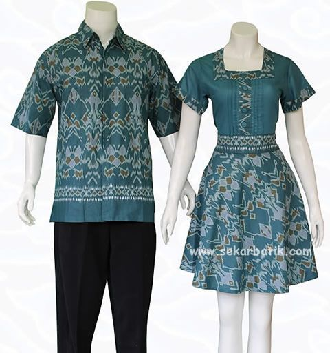 batik couple warna toska 73