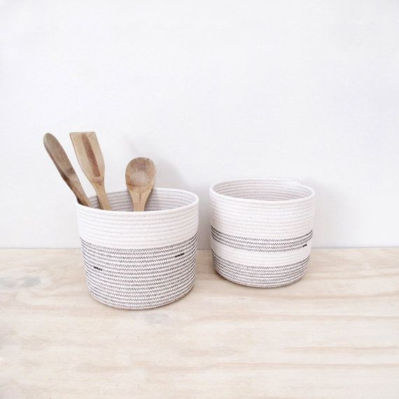 Cylinder Shaped Coiled Rope Basket Bathroom Storage by MiaMelange