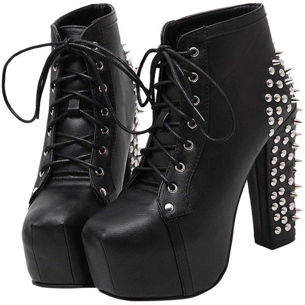 OCHENTA Women's Lace Up Rivet Studded Platform Chunky Heel Ankle Boots (130 BRL) ❤ liked on Polyvore featuring shoes, boots, ankle booties, heels, lace up platform bootie, lace up platform booties, heeled ankle boots, lace-up bootie and platform booties