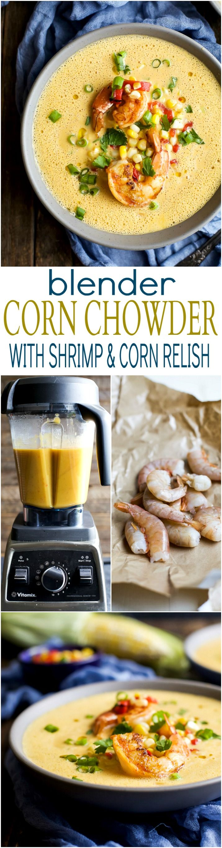 Fall perfection! This Blender Corn Chowder with Pan Seared Shrimp and Corn Relish is healthy, filled with rich flavors, done in 30 minutes and paleo! You're gonna fall in love! | joyfulhealthyeats.com #glutenfree #ad