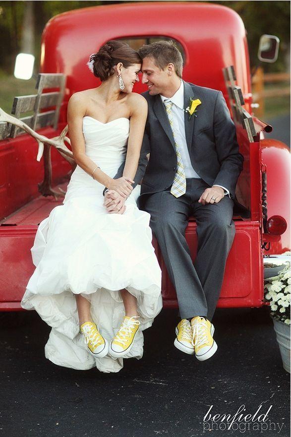 Bride & Groom yellow Converse wedding shoes. So cute!