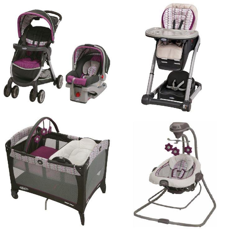 Graco Purple Baby Gear Bundle Stroller Travel System