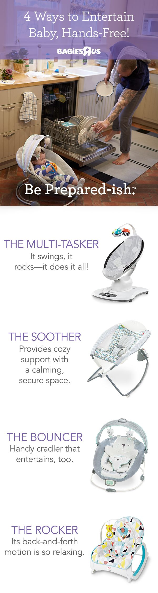 Dirty dishes in the sink? Laundry piling up? We know the struggle is real. When you have a little one, you barely have a moment to spare! But with portable, hands-free gear, you can tackle your to-do list while keeping an eye on and entertaining baby. So, let the rhythmic, back-and-forth motion of these rockers, swings and sleepers soothe your little one while you get stuff done.