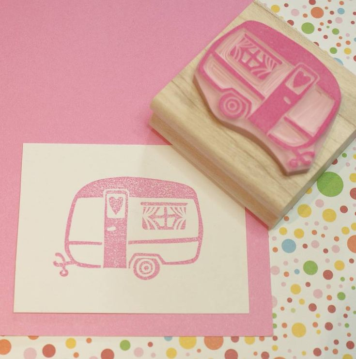 Little Caravan Of Love Hand Carved Rubber Stamp by Skull and Cross Buns