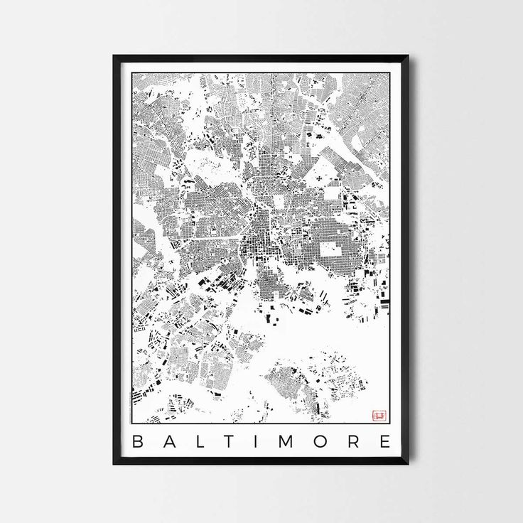 Baltimore schwarzplan map art city posters. Unique interior decor idea for offices art posters or kitchen art prints.  Minimalist city art gifts for travelers as framed art or canvas wall art. Urban plan map style. print, poster, gift | CityArtPosters.com