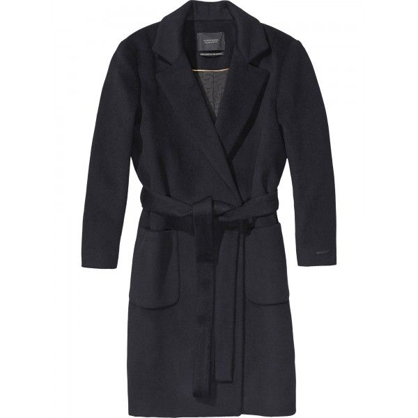 Women's brown wrapover coat from Amsterdam-based brand Maison Scotch. Crafted from a warm wool blend, the coat is fastened with a belt tie around the waist and features a shawl collar. The fully lined coat is finished with two front pouch pockets, a singl