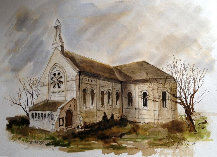 """St. Peter's Catholic Church at the Grove, on the Isle of Portland. Painted in ink and acrylic.  12"""" x 16"""""""