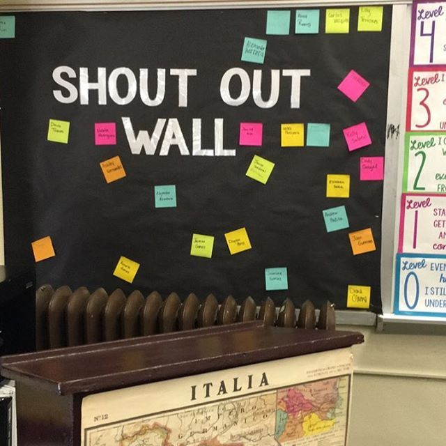 Favorite part of my classroom #happyclassrooms #teachersofinstagram shout out wall. Positive classroom.