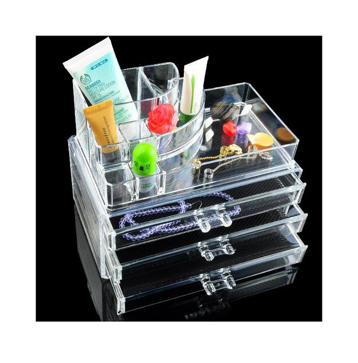 Акриловые Макияж Организатор косметическая организатор ювелирные изделия акриловые макияж случае с 3 ящиками помады держатель ящик для хранения EQC372