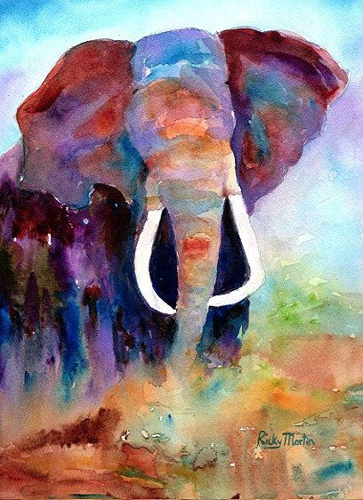 Abstract Elephant, African Wild Life, Child's Room Decor - FREE SHIPPING - Print from my Original  Painting - ebsq Artist Ricky Martin. $15.00, via Etsy.