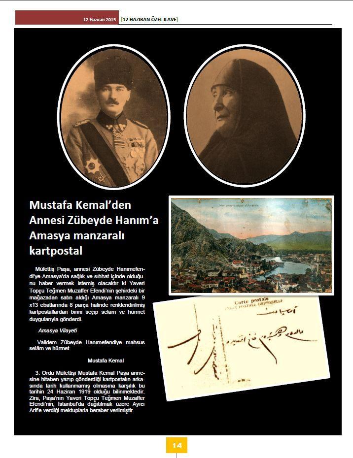 9. Ordu Müfettişi Mustafa Kemal'in annesi Zübeyde Hanım'a Amasya'dan gönderdiği kartpostal