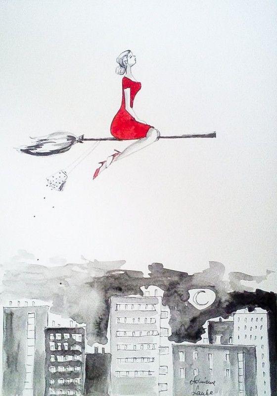 """""""ELEGANCKA WIEDŹMA"""" praca akwarelą i piórkiem artystki plastyka Adriany Laube wykonana na wysokogatunkowym 300g papierze A3.  Praca sygnowana."""