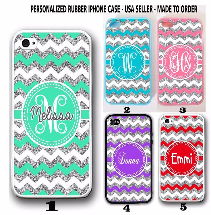PERSONALIZED MINT SILVER RED PINK CHEVRON MONOGRAM CASE FOR IPHONE X 8 7 6S 6 SE #UnbrandedGeneric