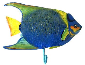 "Wall Hook - Tropical Fish Towel Hook - Hand Painted Metal Home Decor, Tropical Bathroom Decor, Metal Art - 7""  x 9"" -K-7221-HK-r by TropicAccents on Etsy"